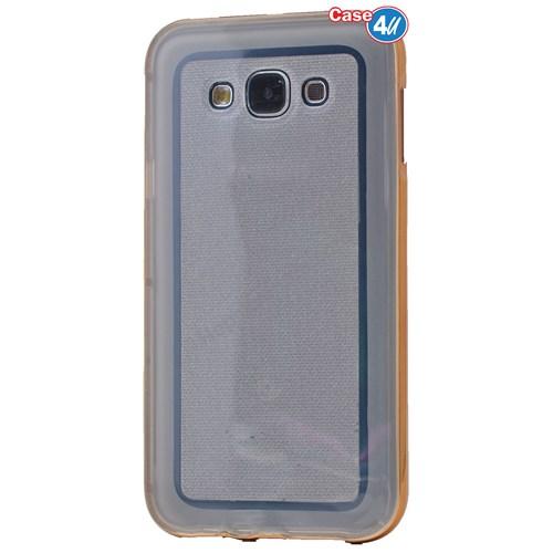 Case 4U Samsung Galaxy E7 Çerçeveli Silikon Kılıf Altın