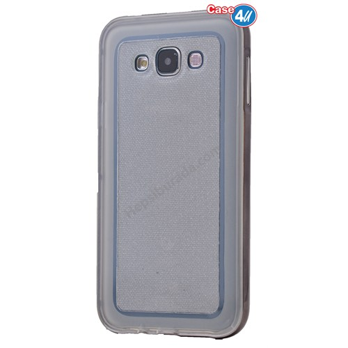 Case 4U Samsung Galaxy E7 Çerçeveli Silikon Kılıf Siyah