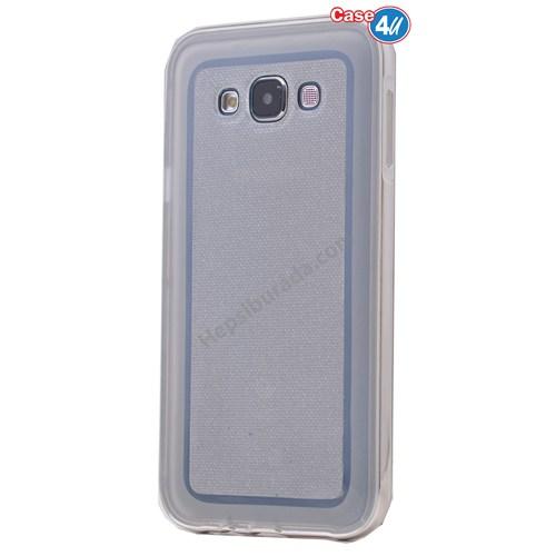 Case 4U Samsung Galaxy E7 Çerçeveli Silikon Kılıf Şeffaf