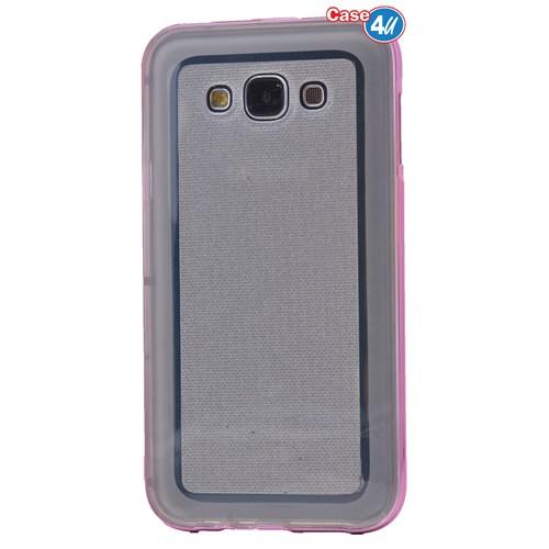 Case 4U Samsung Galaxy E5 Çerçeveli Silikon Kılıf Pembe
