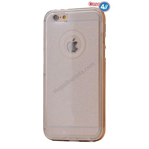 Case 4U Apple İphone 6 Çerçeveli Silikon Kılıf Altın