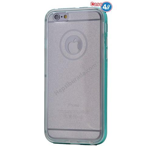 Case 4U Apple İphone 6 Plus Çerçeveli Silikon Kılıf Mavi