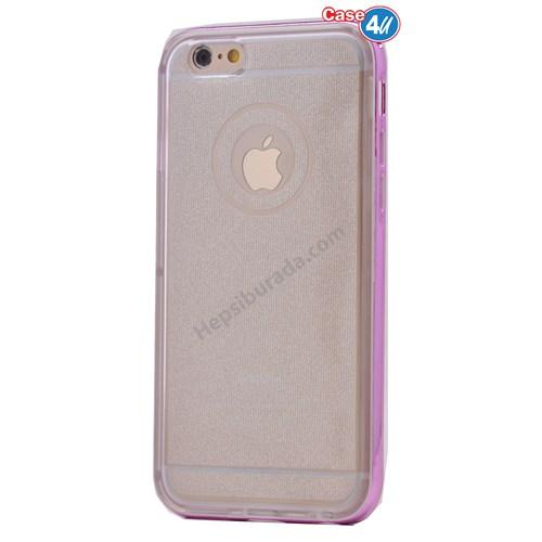 Case 4U Apple İphone 6S Çerçeveli Silikon Kılıf Pembe