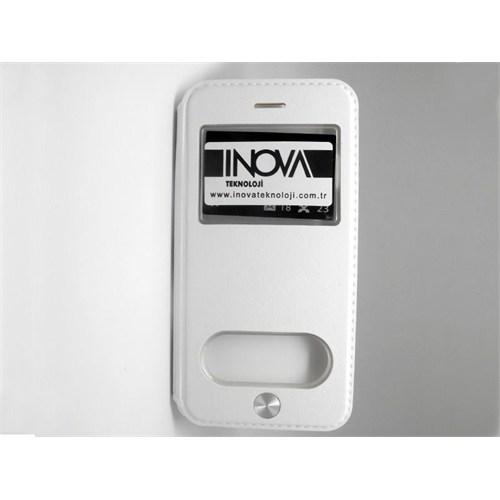 Inovaxis Apple iPhone 6 Plus Tuşlu Flip Cover Kılıf Beyaz