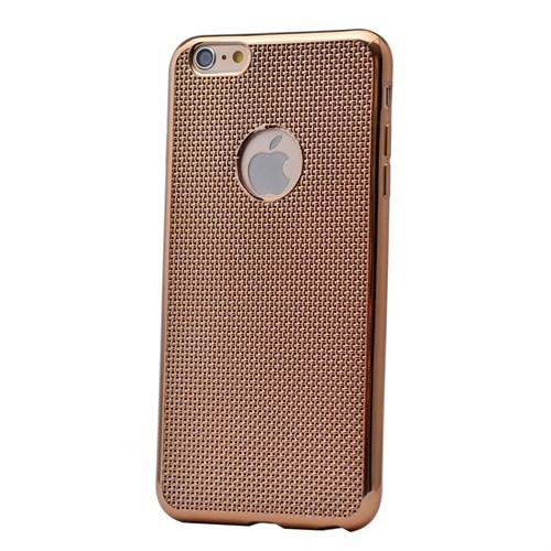Kılıfshop Apple İphone 6/6S Hasır Desenli Silikon Kılıf (Gold) + Kırılmaz Cam Ekran Koruyucu