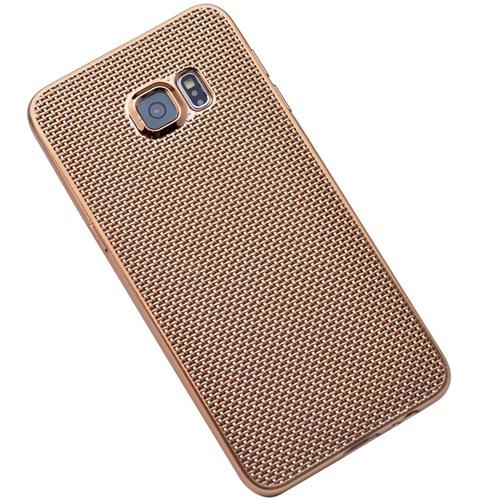 Kılıfshop Samsung Galaxy S6 Edge Plus Hasır Desenli Silikon Kılıf (Gold) + Kırılmaz Cam Ekran Koruyucu