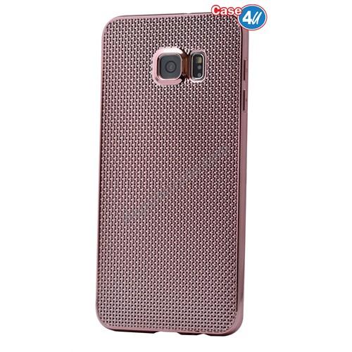 Case 4U Samsung Galaxy S6 Edge Plus Hasır Desenli Ultra İnce Silikon Kılıf Pembe