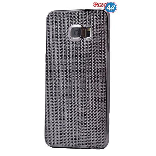 Case 4U Samsung Galaxy Note 5 Hasır Desenli Ultra İnce Silikon Kılıf Siyah