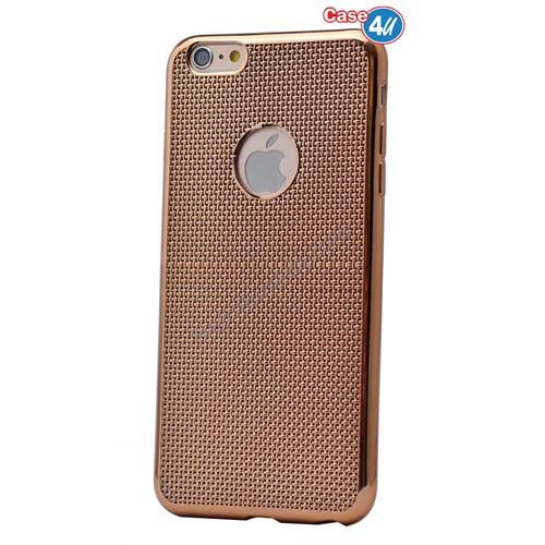 Case 4U Apple İphone 6 Hasır Desenli Ultra İnce Silikon Kılıf Altın