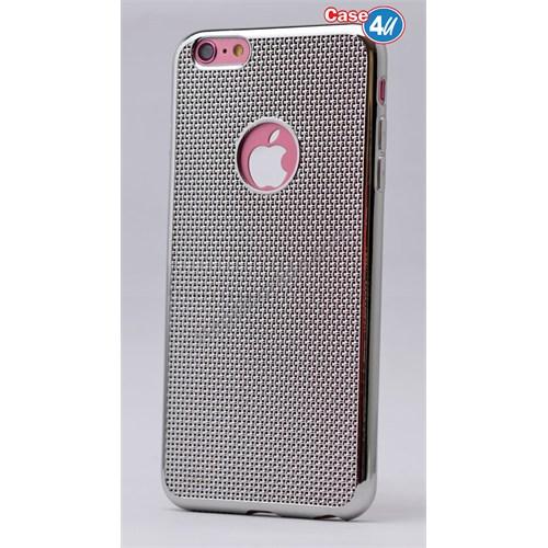 Case 4U Apple İphone 6 Hasır Desenli Ultra İnce Silikon Kılıf Gümüş