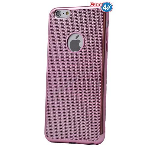 Case 4U Apple İphone 6 Hasır Desenli Ultra İnce Silikon Kılıf Pembe