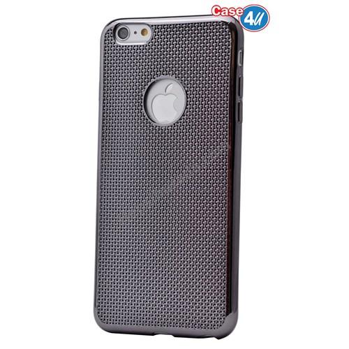 Case 4U Apple İphone 6 Hasır Desenli Ultra İnce Silikon Kılıf Siyah*