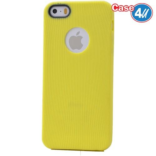 Case 4U Apple İphone 5 Çizgili Silikon Kılıf Sarı