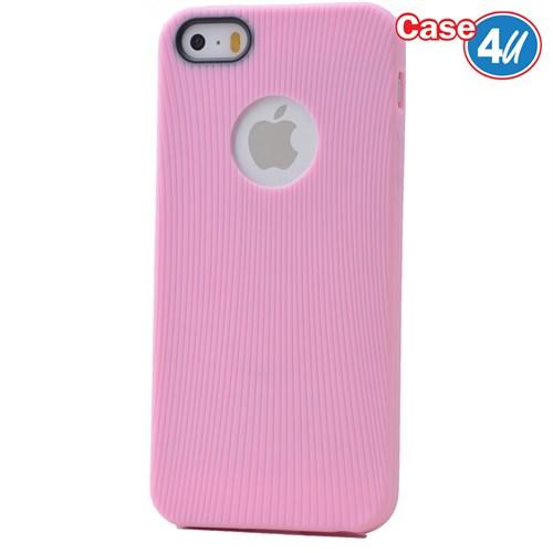 Case 4U Apple İphone 5S Çizgili Silikon Kılıf Pembe
