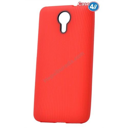 Case 4U General Mobile 4G Android One Çizgili Silikon Kılıf Kırmızı