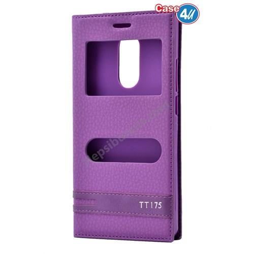 Case 4U Türk Telekom Tt175 Pencereli Kapaklı Kılıf Mor