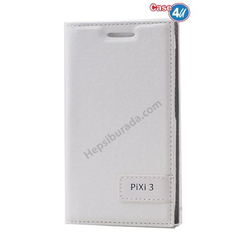 Case 4U Alcatel Pixi 3 Gizli Mıknatıslı Kapaklı Kılıf Beyaz