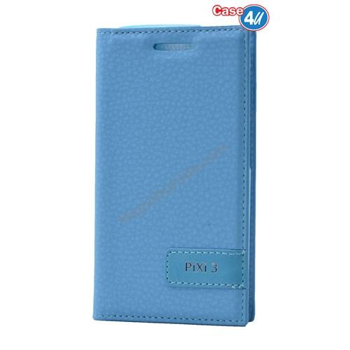 Case 4U Alcatel Pixi 3 Gizli Mıknatıslı Kapaklı Kılıf Mavi