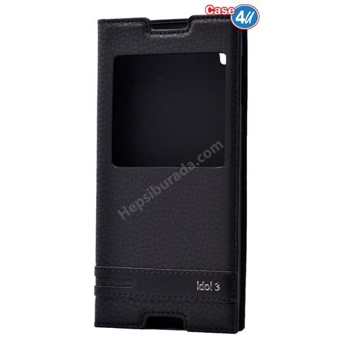 """Case 4U Alcatel Idol 3 5.5"""" Pencereli Kapaklı Kılıf Siyah*"""