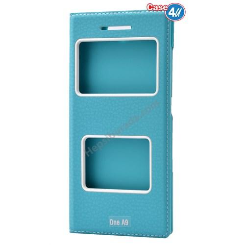 Case 4U Htc One A9 Pencereli Kapaklı Kılıf Mavi