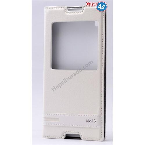"""Case 4U Alcatel Idol 3 5.5"""" Pencereli Kapaklı Kılıf Beyaz"""