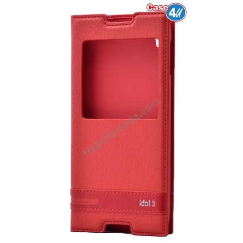 """Case 4U Alcatel Idol 3 5.5"""" Pencereli Kapaklı Kılıf Kırmızı"""