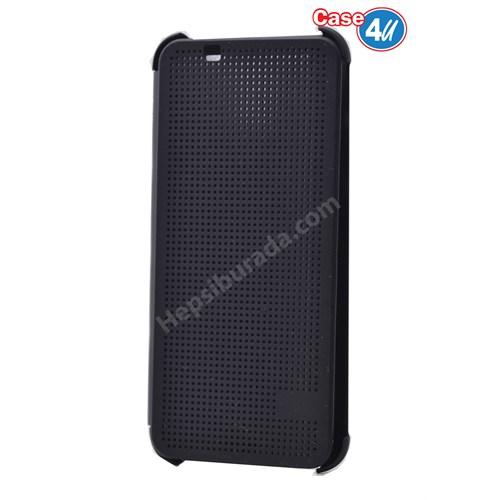 Case 4U Htc One A9 Dot Kapaklı Kılıf Siyah