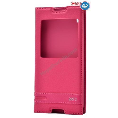 "Case 4U Alcatel Idol 3 5.5"" Pencereli Kapaklı Kılıf Pembe"