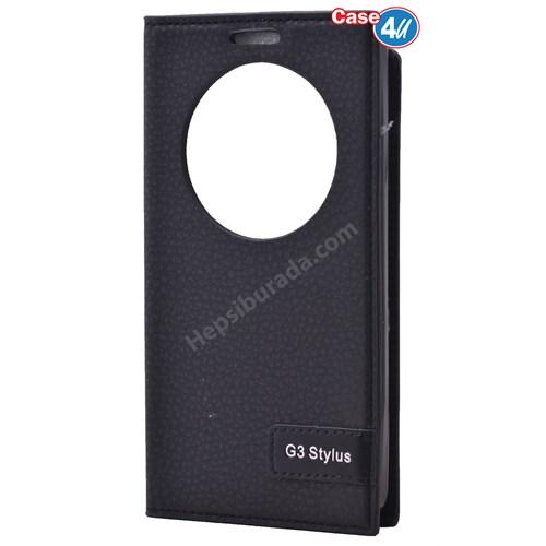 Case 4U Lg G3 Stylus Pencereli Kapaklı Kılıf Siyah