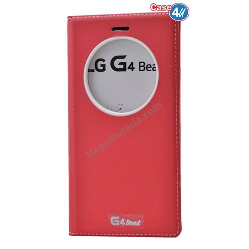 Case 4U Lg G4 Beat Pencereli Kapaklı Kılıf Kırmızı