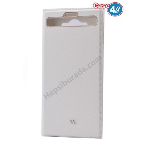 Case 4U Lg V10 Pencereli Mıknatıslı Kapaklı Kılıf Beyaz