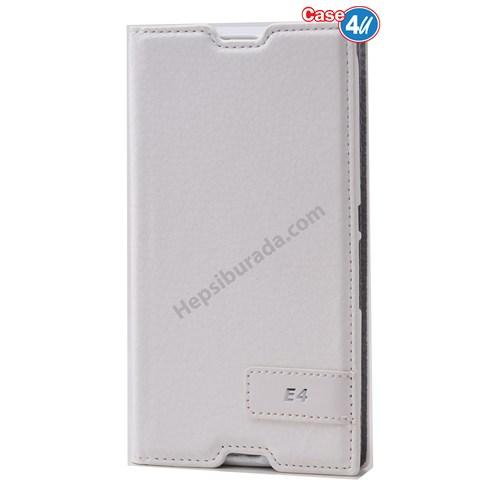 Case 4U Sony Xperia E4g Gizli Mıknatıslı Kapaklı Kılıf Beyaz