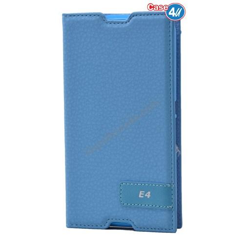 Case 4U Sony Xperia E4g Gizli Mıknatıslı Kapaklı Kılıf Mavi