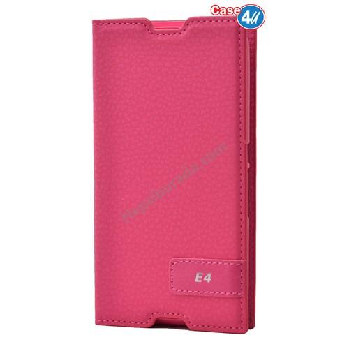 Case 4U Sony Xperia E4g Gizli Mıknatıslı Kapaklı Kılıf Pembe