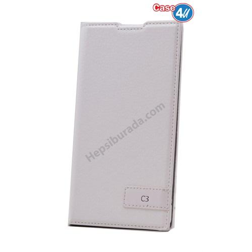 Case 4U Sony Xperia C3 Gizli Mıknatıslı Kapaklı Kılıf Beyaz