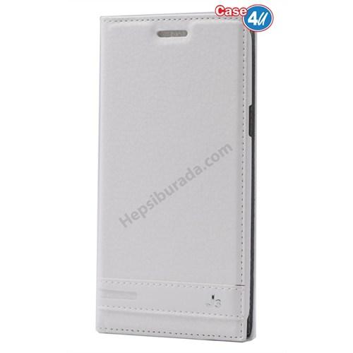 Case 4U Samsung Galaxy J3 Gizli Mıknatıslı Kılıf Beyaz