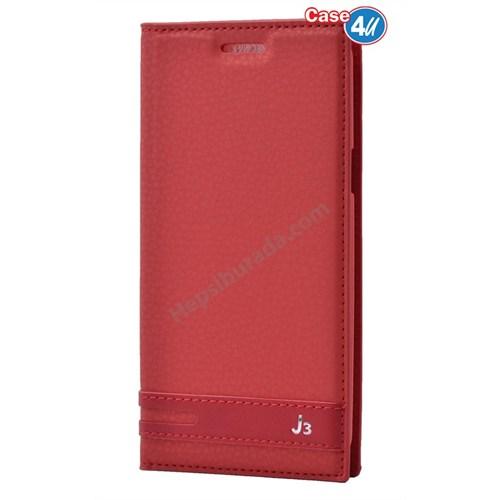 Case 4U Samsung Galaxy J3 Gizli Mıknatıslı Kılıf Kırmızı