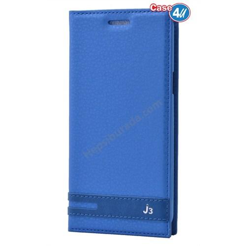 Case 4U Samsung Galaxy J3 Gizli Mıknatıslı Kılıf Mavi