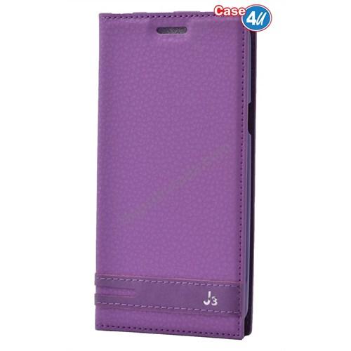 Case 4U Samsung Galaxy J3 Gizli Mıknatıslı Kılıf Mor