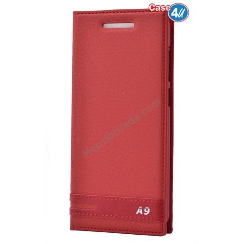 Case 4U Htc One A9 Gizli Mıknatıslı Kılıf Kırmızı