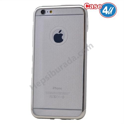 Case 4U Apple İphone 5S Simli Silikon Kılıf Beyaz