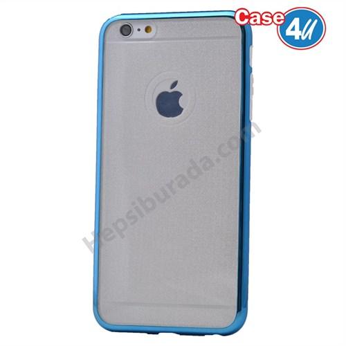 Case 4U Apple İphone 5 Simli Silikon Kılıf Mavi