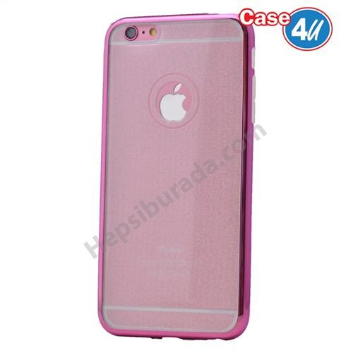 Case 4U Apple İphone 5 Simli Silikon Kılıf Pembe