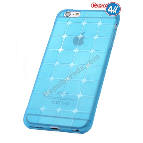 Case 4U Apple İphone 6 Plus Kare Desenli Silikon Kılıf Mavi