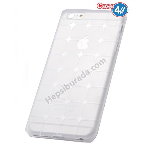 Case 4U Apple İphone 6 Kare Desenli Silikon Kılıf Şeffaf