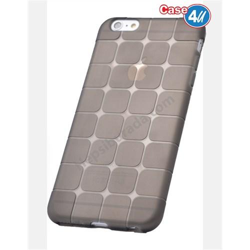 Case 4U Apple İphone 6 Kare Desenli Silikon Kılıf Siyah