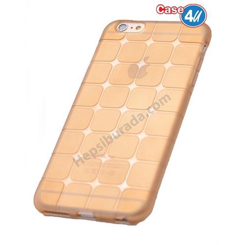 Case 4U Apple İphone 5 Kare Desenli Silikon Kılıf Altın