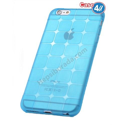 Case 4U Apple İphone 5 Kare Desenli Silikon Kılıf Mavi
