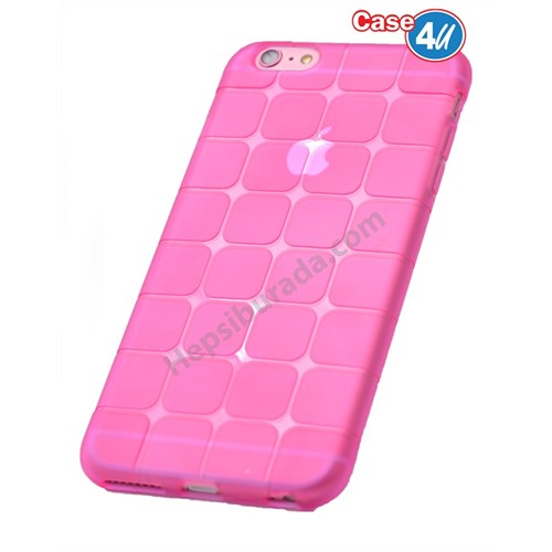 Case 4U Apple İphone 5S Kare Desenli Silikon Kılıf Pembe