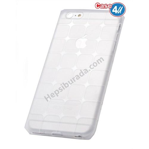 Case 4U Apple İphone 5S Kare Desenli Silikon Kılıf Şeffaf